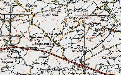 Old map of Llanarmon in 1922