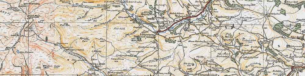 Old map of Llanarmon Dyffryn Ceiriog in 1921