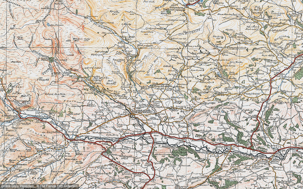Old Map of Historic Map covering Afon lwrch in 1921