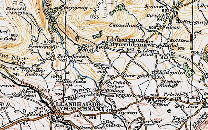 Old map of Afon lwrch in 1921