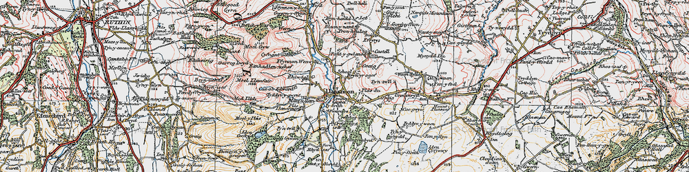 Old map of Llanarmon-yn-Ial in 1924