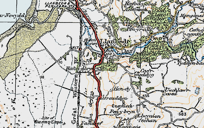 Old map of Llanbedr in 1922