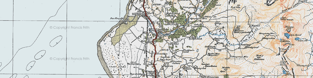 Old map of Llanbedr in 1922