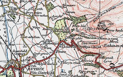 Old map of Llanbedr-Dyffryn-Clwyd in 1924