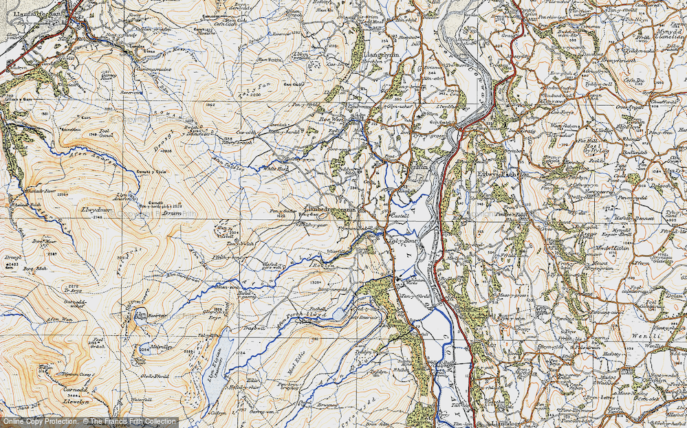 Old Map of Historic Map covering Afon Dulyn in 1922
