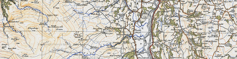 Old map of Afon Dulyn in 1922