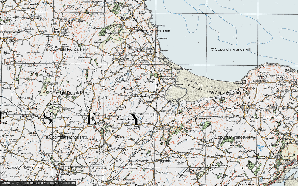 Old Map of Historic Map covering Ynys Isaf in 1922