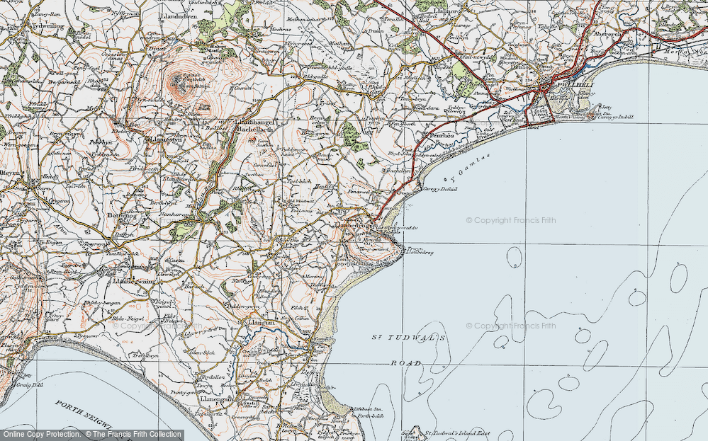 Old Map of Historic Map covering Bachellyn in 1922