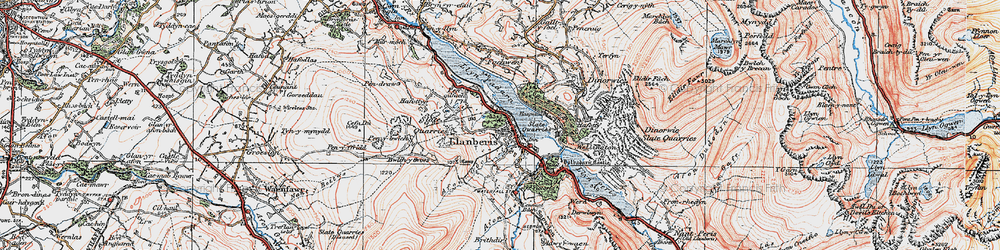 Old map of Llanberis in 1922