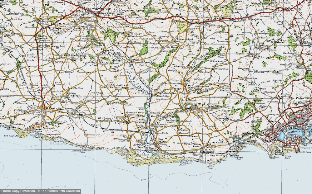 Old Map of Llanbethery, 1922 in 1922
