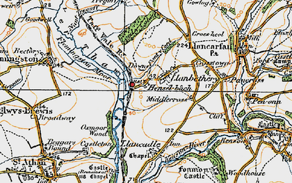 Old map of Llanbethery in 1922