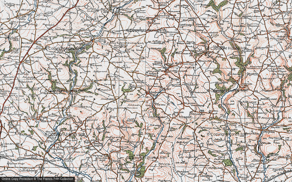 Old Map of Historic Map covering Afon Gronw in 1922