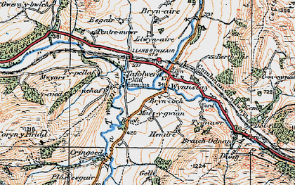 Old map of Llanbrynmair in 1921