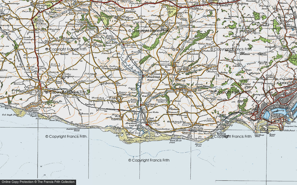 Old Map of Llancadle, 1922 in 1922