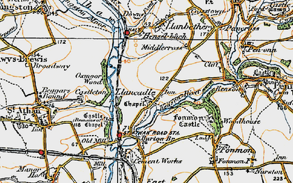 Old map of Llancadle in 1922