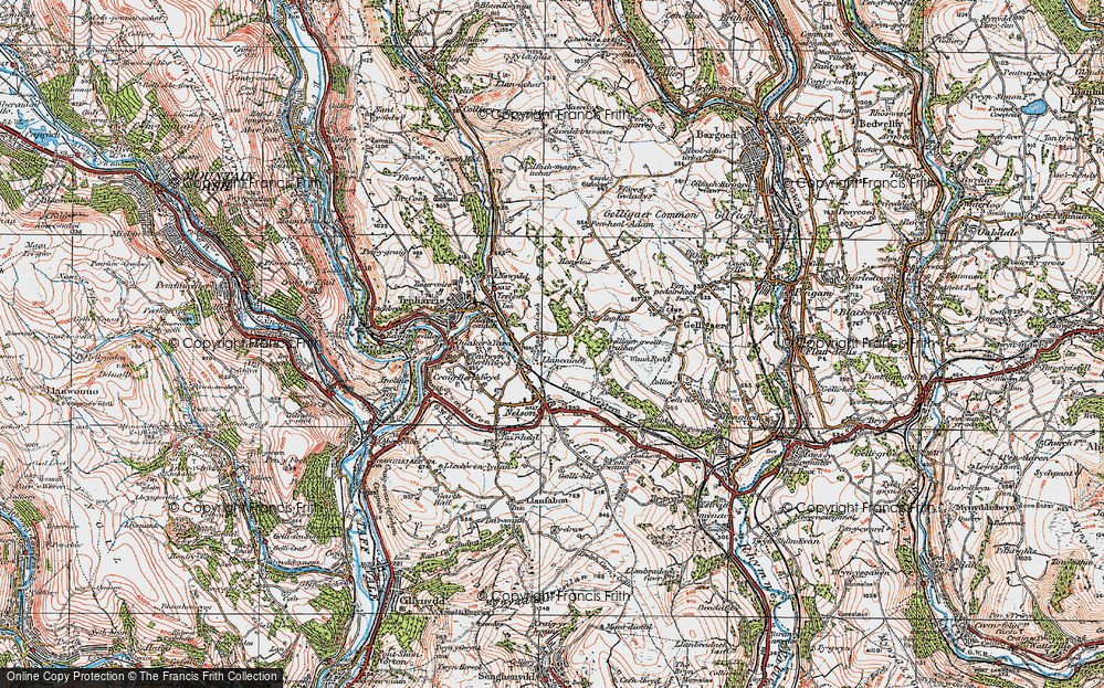 Old Map of Historic Map covering Tir-y-rhen in 1919