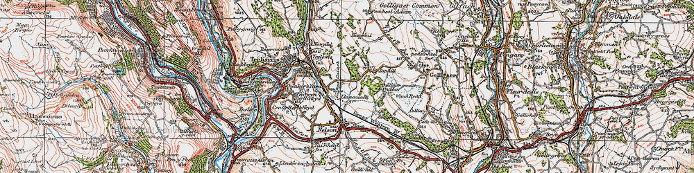 Old map of Tir-y-rhen in 1919