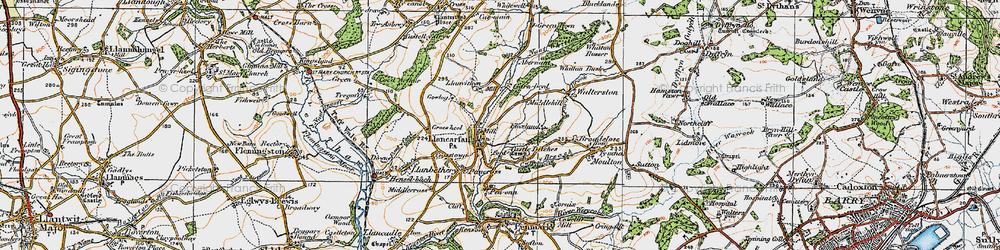 Old map of Llancarfan in 1922