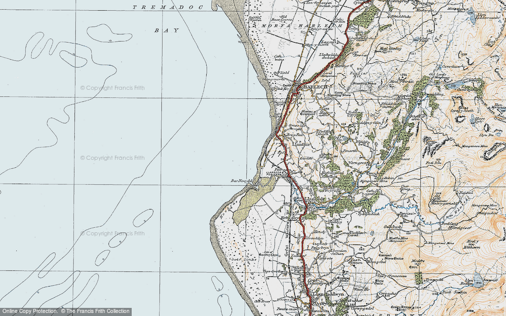 Old Map of Historic Map covering Bar Newydd in 1922