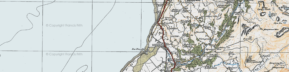 Old map of Llandanwg in 1922