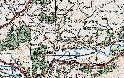 Old map of Llandderfel in 1922