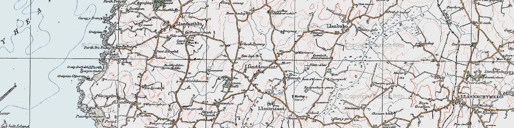 Old map of Llanddeusant in 1922