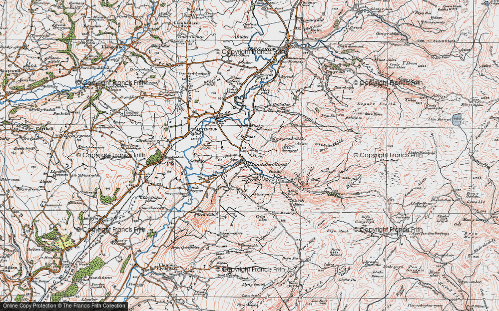 Old Map of Historic Map covering Afon Brefi in 1923