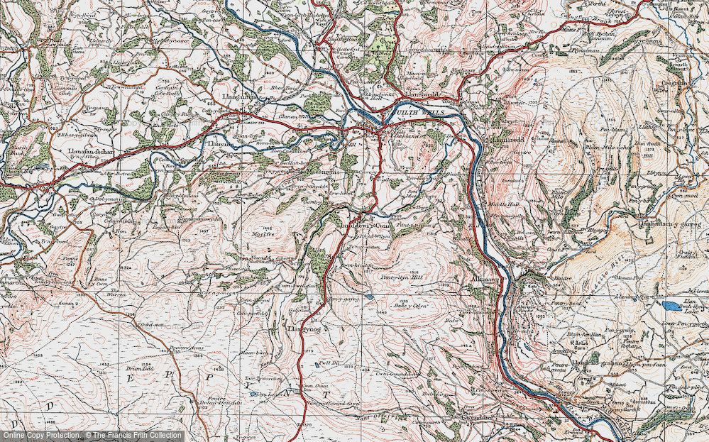 Old Map of Historic Map covering Banc y Celyn in 1923