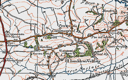 Old map of Llanddewi Velfrey in 1922