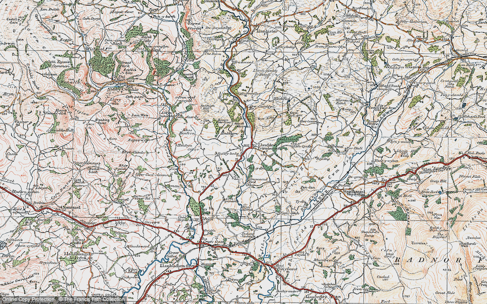 Old Map of Historic Map covering Tomen Bedd Ugre in 1920