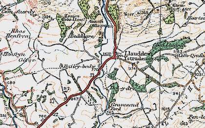 Old map of Aber-Camddwr Br in 1920