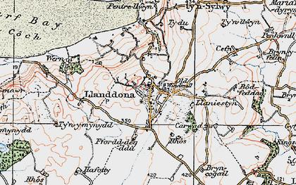 Old map of Llanddona in 1922