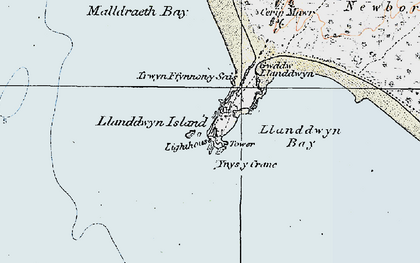 Old map of Ynys-y-cranc in 1922