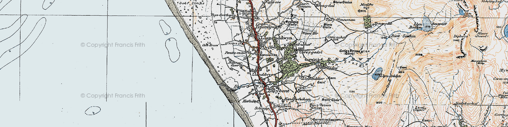Old map of Llanddwywe in 1922