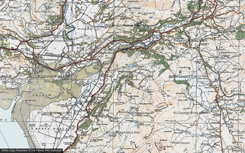 Old Map of Historic Map covering Y Gyrn in 1922