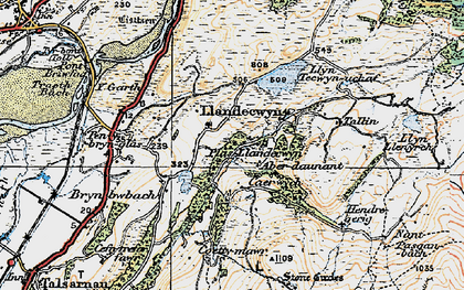 Old map of Y Gyrn in 1922