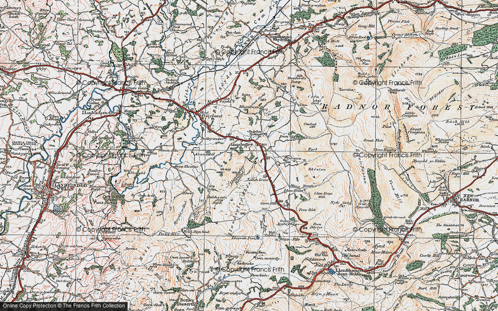 Old Map of Historic Map covering Bailey-mawr in 1920