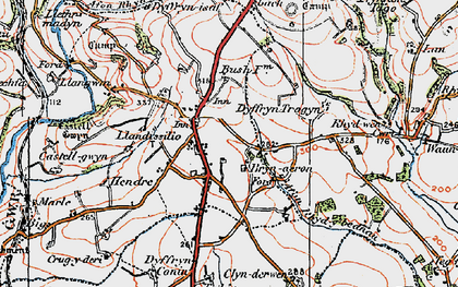Old map of Afon Rhydybennau in 1922