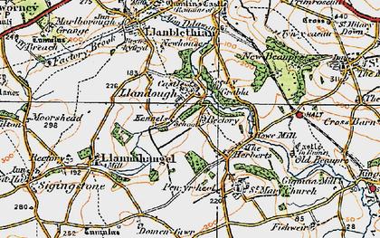 Old map of Llandough in 1922