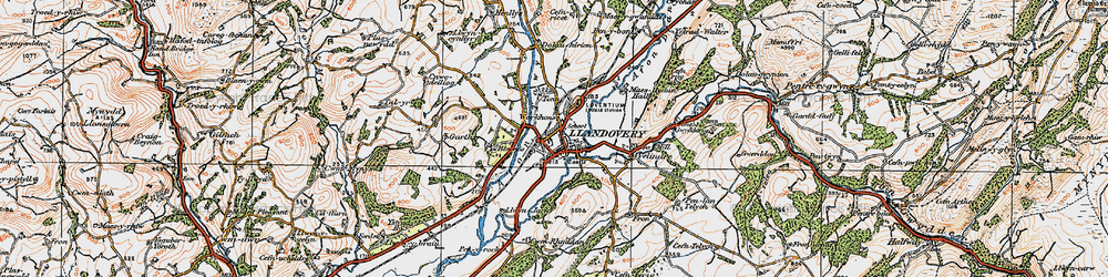 Old map of Llandovery in 1923