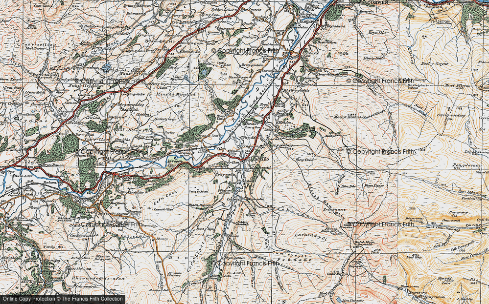 Old Map of Historic Map covering Afon Ceidiog in 1922