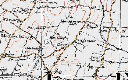 Old map of Llandrygan in 1922
