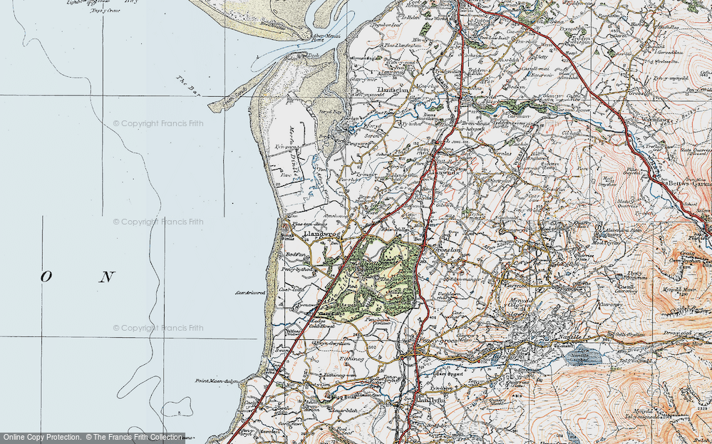 Old Map of Historic Map covering Afon Foryd in 1922