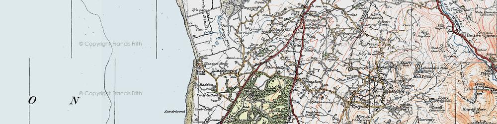 Old map of Llandwrog in 1922