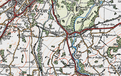Old map of Llandygai in 1922