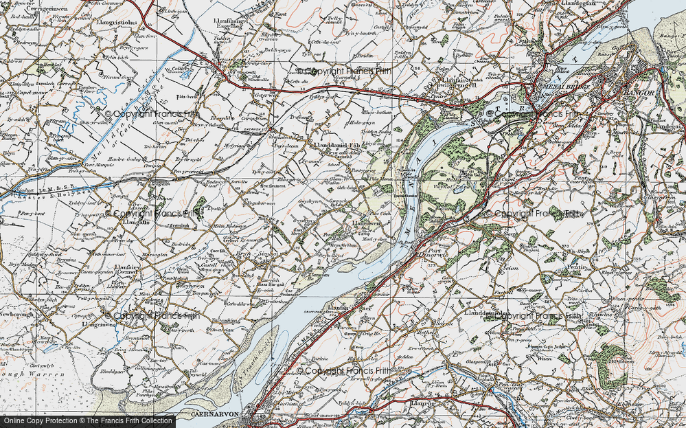 Old Map of Historic Map covering Afon Braint in 1922