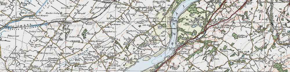 Old map of Afon Braint in 1922