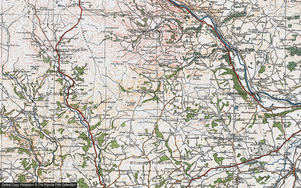 Old Map of Historic Map covering Ysgwydd Hwch in 1923