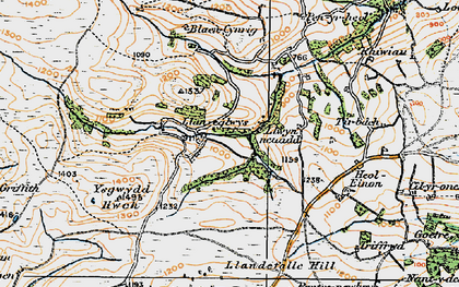Old map of Ysgwydd Hwch in 1923