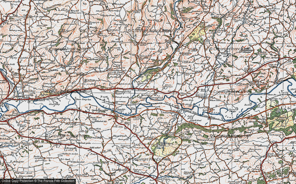 Old Map of Historic Map covering Afon Cothi in 1923